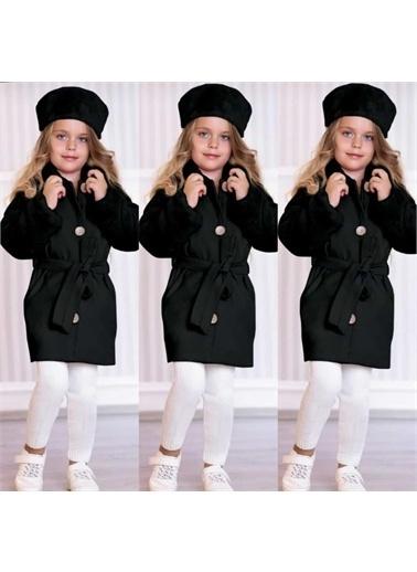 Riccotarz Kız Çocuk Şapkası Peluş Siyah Kaşe Kaban Siyah